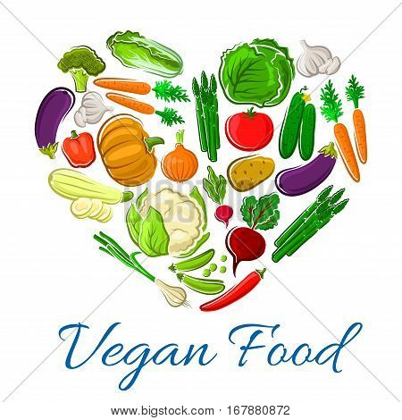 Vegetables farm greens poster in heart shape. Vector fresh veggies chili pepper, chinese cabbage and cucumber. Harvest of carrot, garlic, eggplant and onion leek. Vegetarian organic pumpkin, squash zucchini, corn and asparagus, radish and tomato