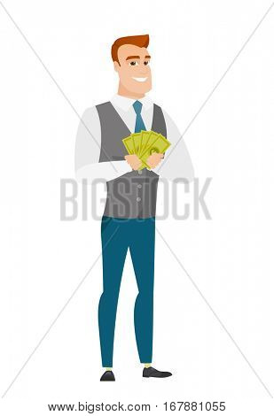 Happy caucasian businessman holding money. Excited businessman standing with money in hands. Full length of smiling businessman with money. Vector flat design illustration isolated on white background