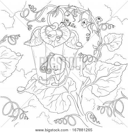 Fairy cartoon character. Firefly Fairy sleeping in the leaves. Page coloring book. Vector isolated on white background.
