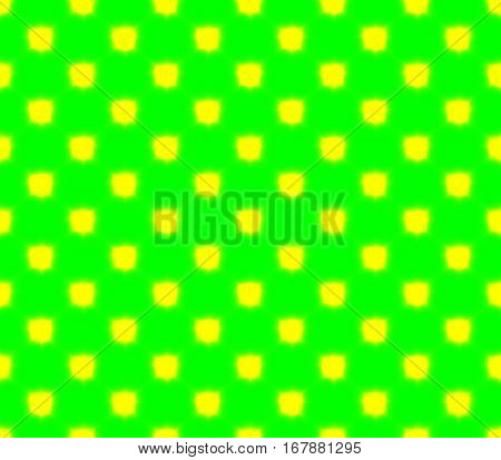 Abstract seamless green background yellow squares are laid out in rows and form a continuous pattern
