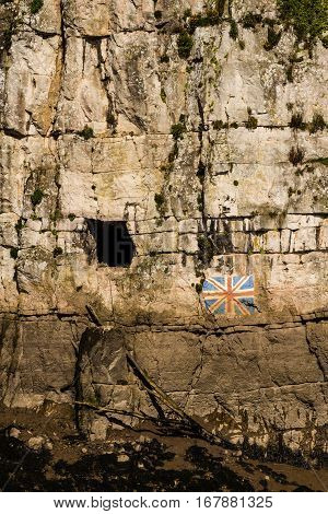 Gloucester Hole And Union Flag, On England Side Of River Wye Opposite Chepstow.