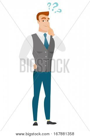 Thinking businessman with question marks. Thoughtful businessman with question marks. Businessman looking at question marks above his head. Vector flat design illustration isolated on white background