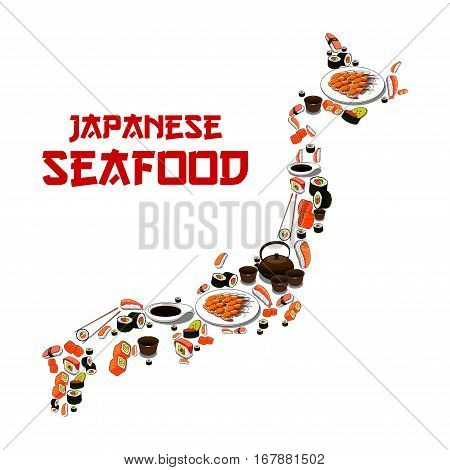 Japanese seafood in shape of Japan map. Vector Sushi, sashimi and seafood dish. Oriental cuisine restaurant food of grilled shrimps, steamed rice with salmon caviar or tuna fish, noodle seaweed miso soup, wasabi, soy sauce and chopsticks