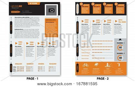 Vector creative minimalist cv resume template with photo frame and infographic charts. Template is with two pages.