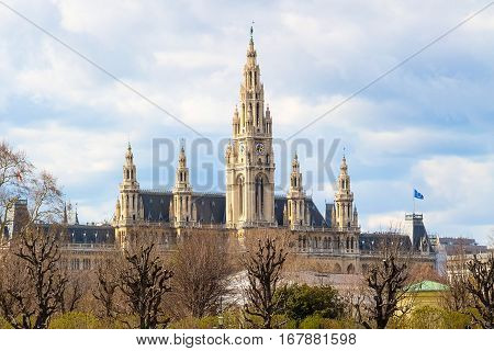 Vienna Town Hall, Wiener Rathaus, Austria against the cloudy sunny sky