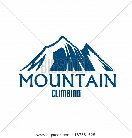 Mountain icon. Vector emblem for mountains climbing sport. Symbol of blue Alpine mount or rock hill snowy peaks. Isolated badge for mountaineering trip adventure, winter nature tourist camping, skiing or snowboarding outdoors sports resort