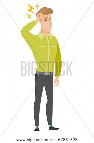 Caucasian businessman with lightning over head. Full length of businessman with lightning. Confident businessman standing under lightning. Vector flat design illustration isolated on white background.