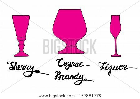 Sherry glass, Cognac glass, Brandy glass, Liquor glass. Various types of glasses with hand drawn inscriptions. Vector bar set