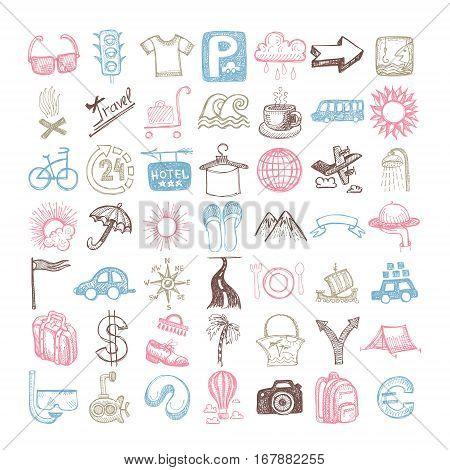 49 hand drawing doodle different icon set about travel, sketchy vector illustration collection