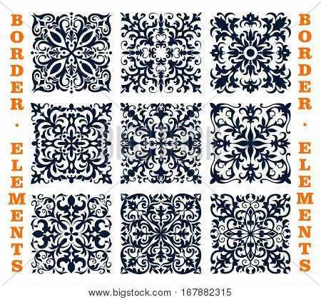 Vector tiles and borders of damask floral brocade ornament. Vector flourish frames elements of ornate baroque flowery embellishment motif and tracery. Luxury mosaic flowers adornment for interior design