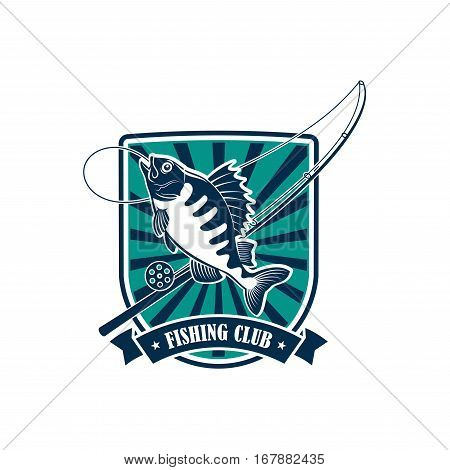 Fishing icon. Fisherman or fisher sport adventure club round badge or emblem with vector symbols of fishing rod with hook and float, river perch, ruff or carp fish with blue ribbon design