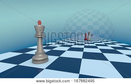 Chess pieces on a fantastic turquoise background. Lyrical scene. 3d illustration.