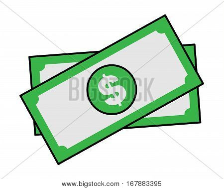 Money bills cartoon sticker in retro style on white background vector illustration for business theme