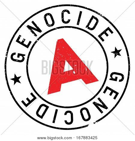 Genocide stamp. Grunge design with dust scratches. Effects can be easily removed for a clean, crisp look. Color is easily changed. rubber grunge