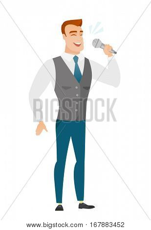 Caucasian businessman singing to the microphone. Full length of businessman singing with closed eyes. Happy businessman singing to the mic. Vector flat design illustration isolated on white background
