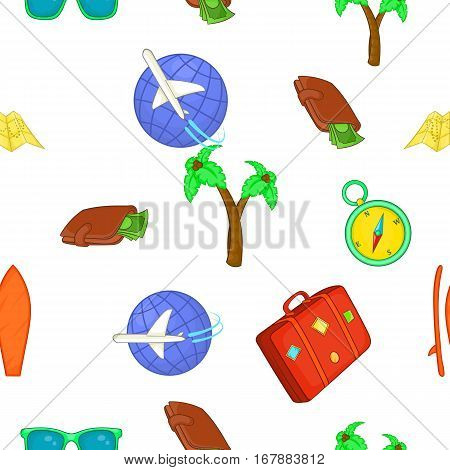 Tourism at sea pattern. Cartoon illustration of tourism at sea vector pattern for web