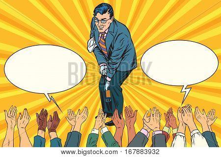 Congratulations, a businessman opens the champagne, hands applause. Vintage pop art retro vector illustration
