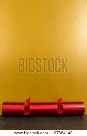 Red Christmas Cracker With Blank Space Above.
