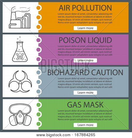 Industrial pollution banner templates set. Easy to edit. Factory with smoke, poison liquid, biohazard symbol, gas mask. Website menu items. Color web banner. Vector headers design concepts