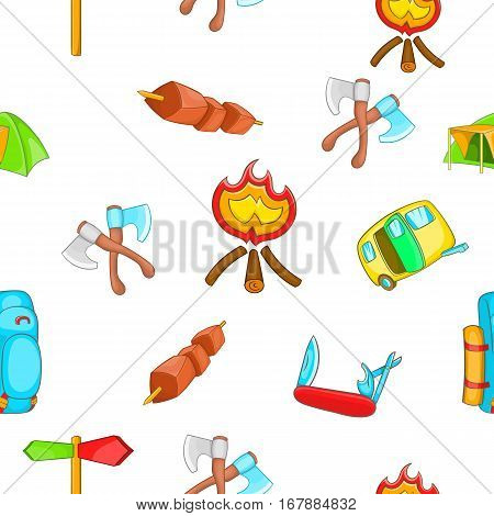 Campground pattern. Cartoon illustration of campground vector pattern for web