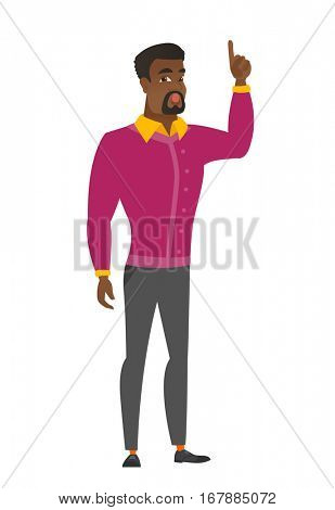 African-american businessman with open mouth pointing finger up. Full length of businessman with open mouth came up with business idea. Vector flat design illustration isolated on white background.