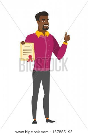 African businessman holding a certificate. Full length of businessman with certificate. Businessman showing certificate and thumbs up. Vector flat design illustration isolated on white background.