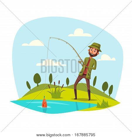 Man catching and pulling fish out of lake or river water with rod. Fisherman sport recreation leisure or nature weekend adventure. Fish hanging on fish-rod hook. Vector happy man with catch