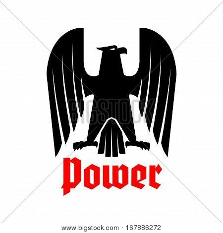 Eagle icon. Heraldic imperial emblem of griffin or vulture bird. Vector coat of arms with royal hawk or falcon gothic symbol of power with spread wings, sharp clutches. Heraldry sign or badge