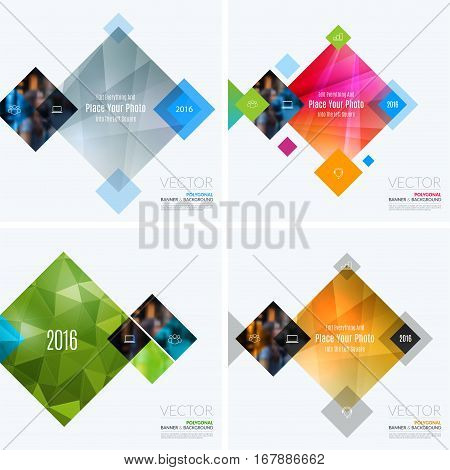 Business vector design elements for graphic layout. Modern abstract background template with colourful rectangles, geometric shapes for PR, business, tech in clean minimal style with overlay effect.