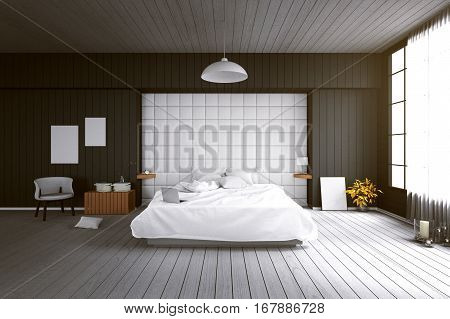 3D rendering : illustration of big spacious modern bedroom in soft light color.big comfortable double bed in elegant classic modern bedroom.interior design of house.modern wooden tile house