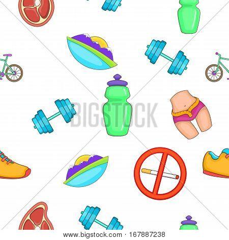 Active lifestyle pattern. Cartoon illustration of active lifestyle vector pattern for web