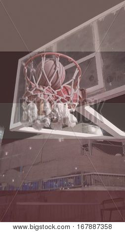 basketball shot of 3 points, a 3 point shot in basketball game, a basket with 3 basketballs