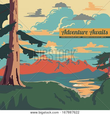 Vintage Style mountain Landscape Background Retro Ads Print Vector Illustration