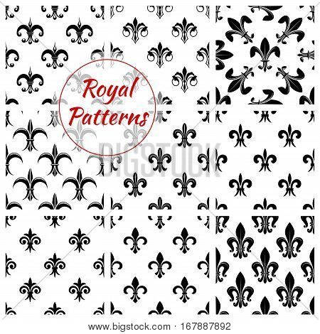 Fleur-de-lis pattern set of fleur-de-lys royal lily flower tracery. Imperial floral ornate motif tiles. Vector background of heraldic flowery ornament and flourish ornamental embellishment backdrop for interior design