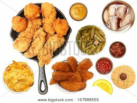 Chicken Tenders, Hush Puppies, Potato Wedges, Iced Tea, Cookie