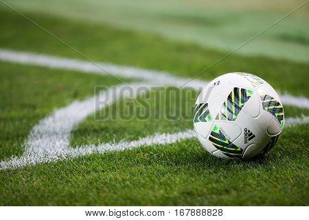 Closeup Of Soccer Ball At The Corner
