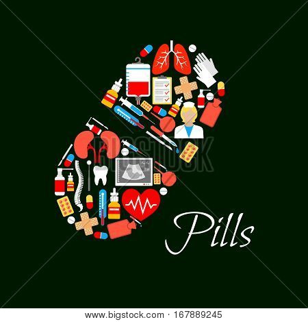 Pill capsule symbol or vector poster designed of medical items, healthcare medicine drugs, syringe, doctor instruments heart, lungs and kidney human organs, spine bones and tooth, ultrasound display, blood dropper, nasal spray and thermometer