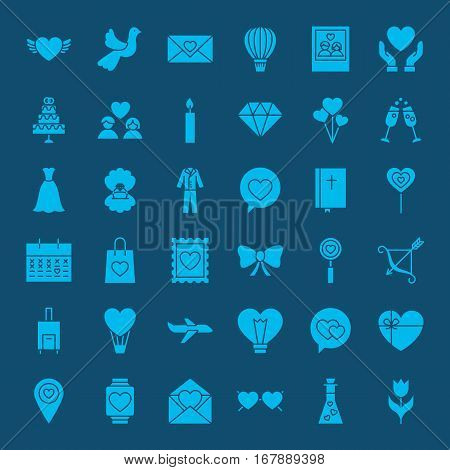 Love Web Glyphs Icons. Vector Set of Wedding Symbols.