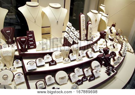 New Alresford, Uk - Jan 28 2017: Window Display Of An Independent Jewellers Store With Range Of New
