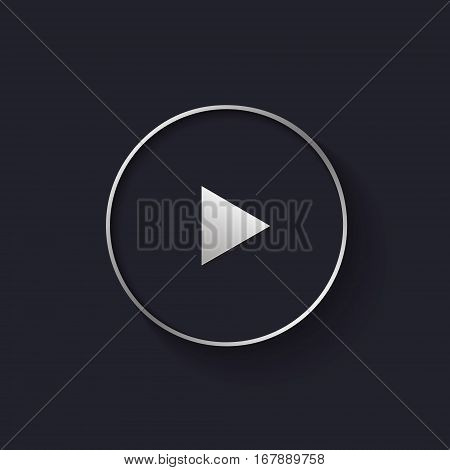 Silver play button in modern flat style, vector sizable illustration.