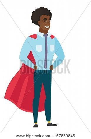 Businesman wearing a red superhero cloak. Full length of businessman dressed as a superhero. Successful businessman superhero in red cloak. Vector flat design illustration isolated on white background