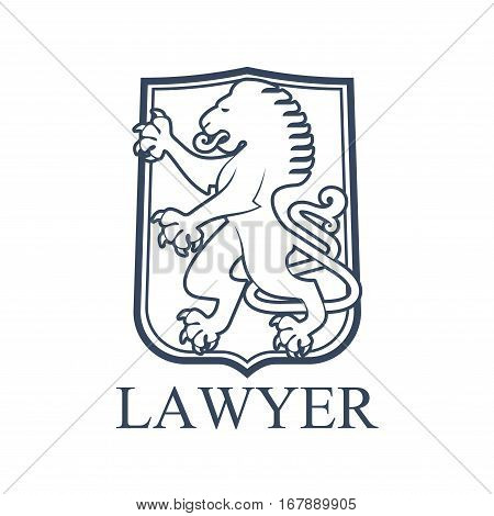 Legal office icon. Vector emblem for lawyer or advocate. Juridical isolated badge with heraldic lion symbol on shield or balzon shape. Law attorney or advocacy and rights service center or notary company