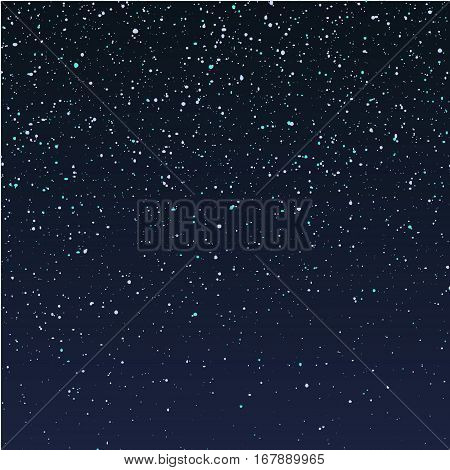 Falling snow on dark blue sky, stars, glitter, confetti, sparkles. Vector editable illustration, could be used for merry christmas background, banners, web, print and other advertisement stuff.
