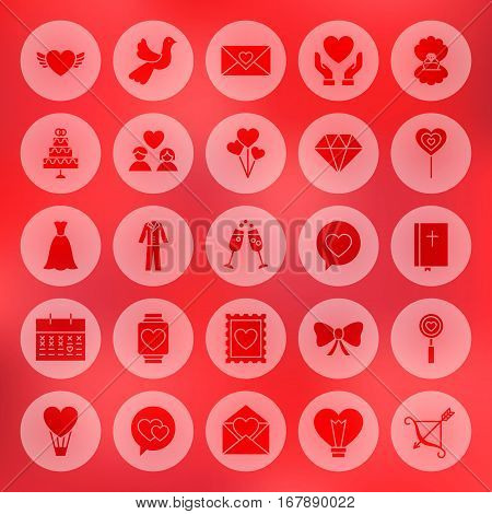 Solid Circle Love Heart Icons. Vector Illustration of Wedding Glyphs over Blurred Background.