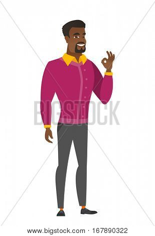 African-american smiling businessman showing ok sign. Young businessman making ok sign. Successful happy businessman gesturing ok sign. Vector flat design illustration isolated on white background.