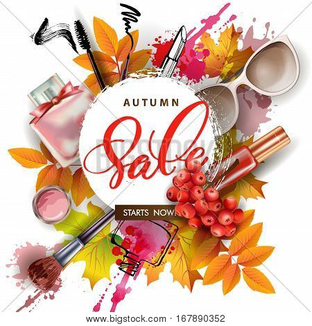 Sale banner with autumn leaves cosmetics and Rowan berries. Vector Template.