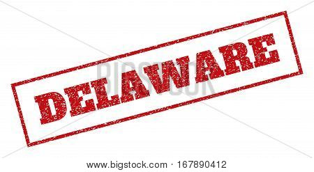 Red rubber seal stamp with Delaware text. Vector caption inside rectangular banner. Grunge design and unclean texture for watermark labels. Inclined sign.