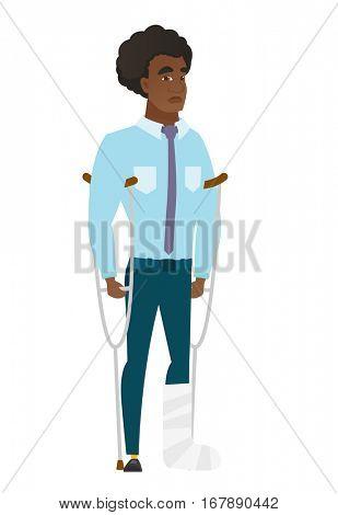 Injured caucasian businessman with broken leg on crutches. Businessman with broken leg in bandages. Full length of man with broken leg. Vector flat design illustration isolated on white background.