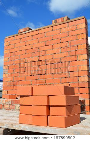 Bricklaying House Construction Site Concept. How To Lay Bricks Like A Bricklayer.