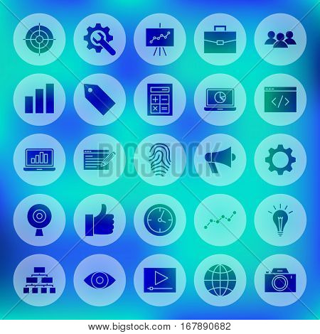 Solid SEO Circle Web Icons. Vector Illustration of Website Development Glyphs over Blurred Background.